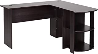 HOMCOM Mesa de Ordenador PC Escritorio para Oficina Hogar Tipo Esquinera Forma L con Estantes 136.2x130.4x72cm Madera
