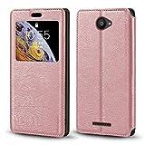 BQ Aquaris U Case Étui en cuir grainé avec porte-cartes et fenêtre pour BQ Aquaris U Lite