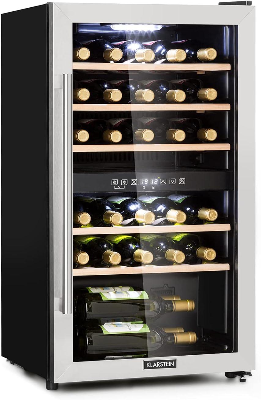 Klarstein Vinamour - Nevera para vinos, Temperatura 5-22 °C, Pantalla LCD, Panel de control táctil, Acero inoxidable, 2 zonas de refrigeración, Capacidad de 80 Litros, Para 29 botellas, Antracita