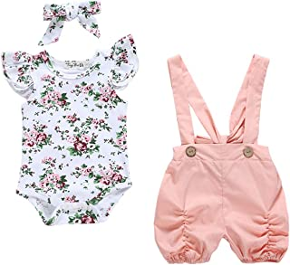 2Piece Infant Toddler Baby Girl Outfits Set,Ruffle Short Sleeve Floral Romper Suspenders Overalls Pants Jumpsuit 0-18M