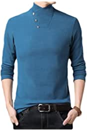 pujingge Mens Patchwork Long Sleeve T-Shirt Casual Color Block Tops Blouse