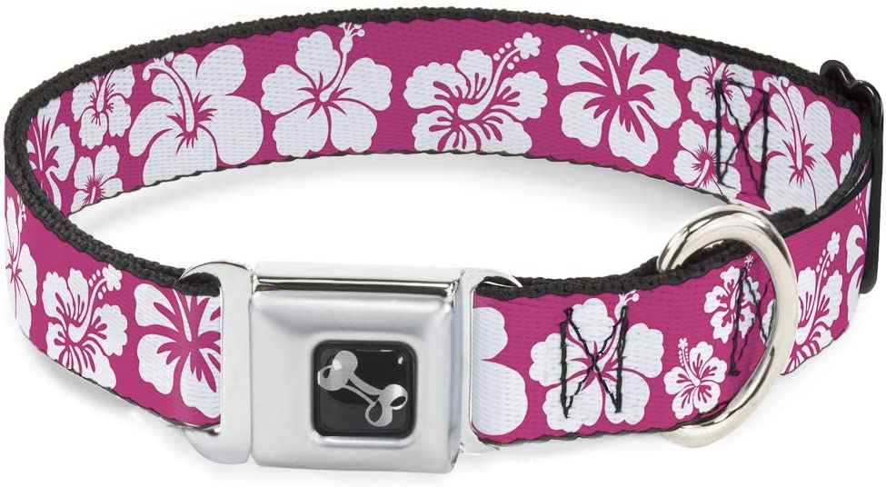Buckle-Down Seatbelt Buckle Dog Collar Hibiscus NEW before selling ☆ - Neon Product Pink Whit