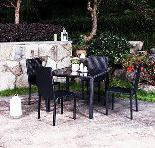 UFI 5 Pieces Patio Dining Sets Outdoor Rattan Chairs with Glass Table Outdoor Wicker Dining Set Seating, Perfect for Balcony Patio Garden Poolside,Space Saving Black