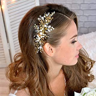 Jakawin Bride Wedding Hair Comb Pearl Bridal Hair Accessories Hair Piece for Women and Girls HC032