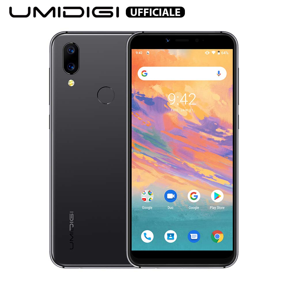 """UMIDIGI A3S Unlocked Smartphone 2020, 5.7"""" Double-Sided 2.5D Curved Glass, 16GB Android 10, Dual SIM +Micro-SD Slot(Up to 256GB) 16MP Dual Camera, Global Version-Space Grey"""