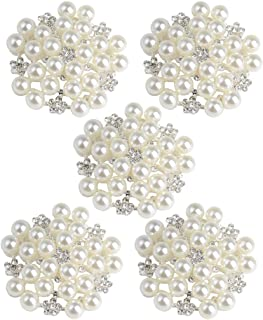 Harilla Conjunto de 5 peças de enfeite de flor com strass para decoração de botões faça-você-mesmo