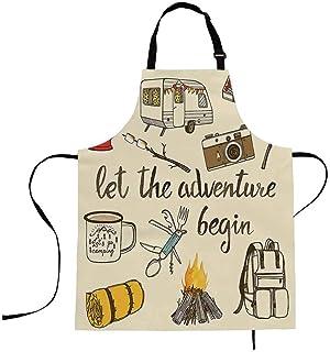 oFloral Camping Aprons Camp Bonfire, Vintage Lantern, Enamel Mug, Camper Van, Matchbox Apron Kitchen Bib Durable Kitchen A...