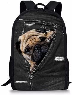 Showudesigns Vintage Puppy Pug Dog Backpack for Children Fashion Satchel Bookbag