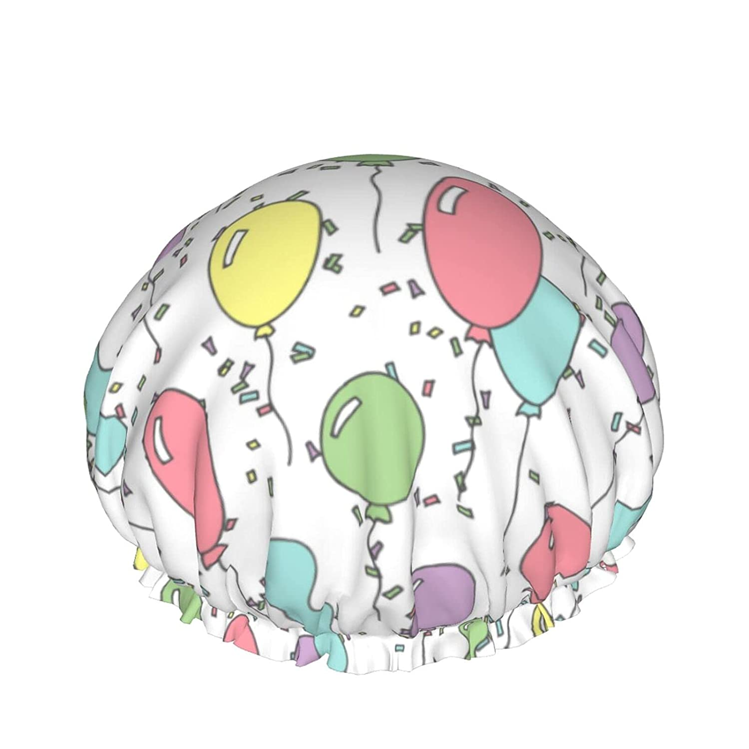 Double Layers Shower Cap Pattern Ranking TOP2 Multicolored L Online limited product With Balloons On