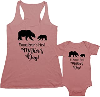 We Match! - Mama Bear`s First Mother`s Day - Matching Triblend Women`s Tank Top & Baby Bodysuit Set