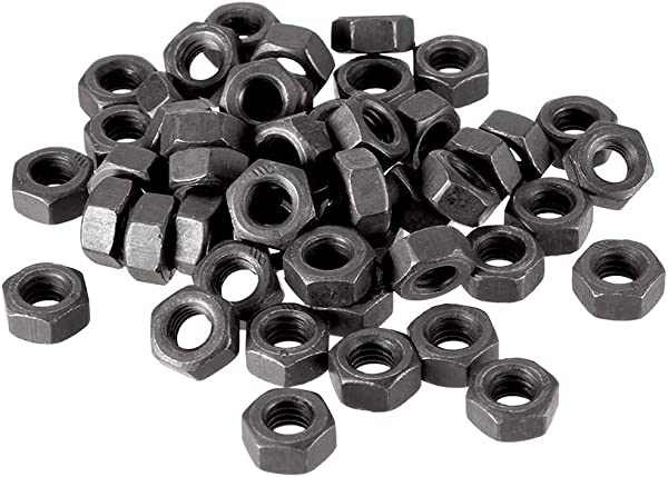 Uxcell Hex Nuts M6x1mm Metric Coarse Thread Hexagon Nut Carbon Steel Pack Of 50 Black