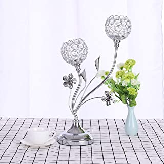 Clearance Sale!DEESEE(TM)🍀🍀Valentine's Day Crystal Candlestick Coffee Table Decoration Pattern Gold/Silve (Sliver)