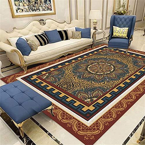 Kunsen Alfombra Silla Gaming Alfombra Marrón Retro Flor geométrica Ran Diseño Sofá Dormitorio...