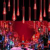 WONFAST LED Meteor Shower Solar Lights Garden, Waterproof 30cm 10 Tubes 360LEDs Falling Raindrop Cascading Decorative String Lights for Holiday Party Wedding Christmas Tree Decoratio (Red)