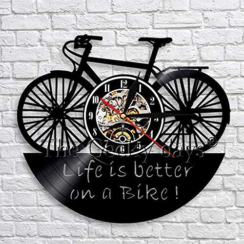fdgdfgd Multicolor Reloj de Pared 3D Bicicleta 3D Art Deco Reloj Retro Disco de Vinilo Reloj decoración   Decoración única para el hogar