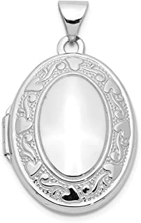 14k White Gold Oval Photo Pendant Charm Locket Chain Necklace That Holds Pictures Fine Jewelry For Women Gifts For Her