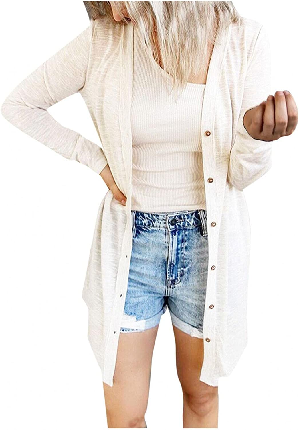 Cardigan Sweaters for Women,2omens Open Front Button Down Long Sleeve Outwear Tops Hoodies Fly Away Sweater