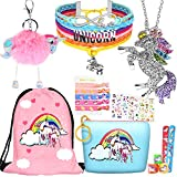 8 pcs Unicorn Gifts for Girls Teen Necklace Bracelet Jewelry Hair Ties Backpack Slap Bracelet Stickers...