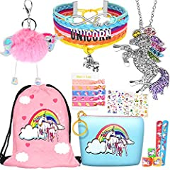 Package Includes: 1 pendant necklace, 1 charm bracelet,1 drawstring backpack, 1 unicorn keychain, 1 coin purse, 5 pcs hair ties, 5 pcs slap bracelet, 6 sheet stickers Application: Best friend gifts for teen girls. Gift for 10 year old girl. Little gi...