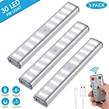 Under Cabinet Lighting, Aeegulle 30 LED Rechargeable Closet Light, Stick-on Anywhere Wireless Motion Sensor Light Lamp, for Closet Hallway Cabinet Stairway Wardrobe Kitchen (3 Pack)