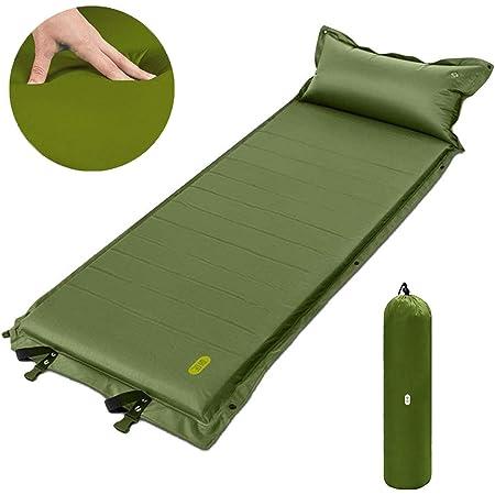 エアーマット Zenph キャンプマット 寝袋マット 自動膨張 19倍高弾性スポンジ 190Tポリエステル 枕付き 厚手5cm 連結可能 防水耐湿 旅行 アウトドア 収納袋付き(グリーン)