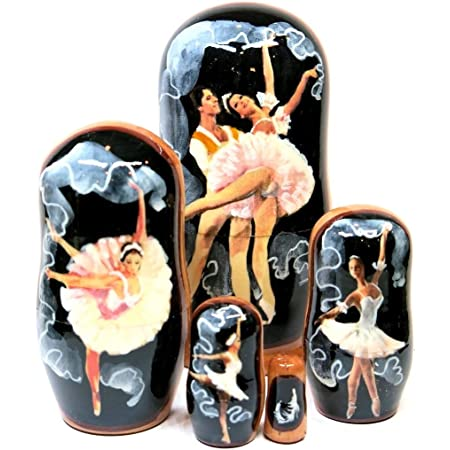 Swan Lake Ballet Solo Dancer Wooden Russian Nesting Dolls Art Handcrafted Set