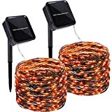Twinkle Star 2 Pack Outdoor Solar String Lights, 39.4 FT 120 LED Solar Powered Halloween Decorative Fairy Lights with 8 Modes, Waterproof Black Wire for Thanksgiving Patio Yard Trees Party, Orange