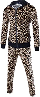 Men's Hipster Leopard Sports Suit Print Tracksuits Autumn Patchwork Sweatshirt Tops + Pants