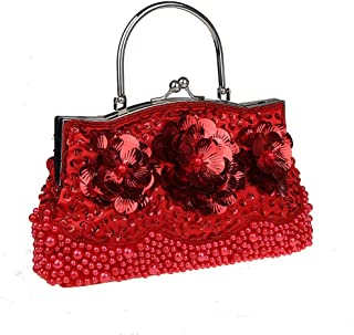 Handbag——Women's Flower Sequined Beaded Handbag, Evening Bag, Wedding Handbag, Banquets, Parties, Shopping, Multiple Colors Available (Color : Red)