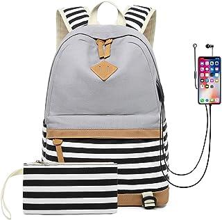 DNFC Schulrucksack Canvas Rucksack mit USB-Ladeanschluss Leinwand Gestreifte Tasche Daypack Backpack Schultaschen mit Großer Kapazität Freizeitrucksack für Teenager Mädchen Jungen Grau