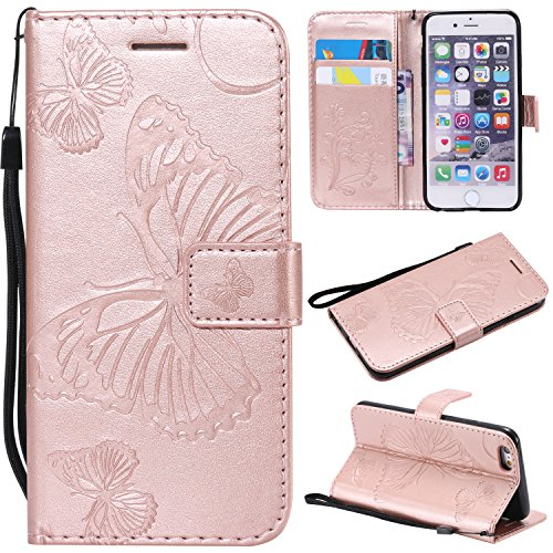iPhone 6S Wallet Case,iPhone 6S Case with Card Holder,iPhone 6 Leather Flip PU Phone Protective Case Cover with Credit Card Holder Slots for Apple iPhone 6S/6 with Stand,Cute Butterfly Rose Gold
