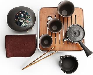 Ecomojiware Chinese Kungfu Tea Set Portable Travel Tea Set Porcelain Handmade Chinese Traditional Ceramics 1 Sets (SH-CJ-13)