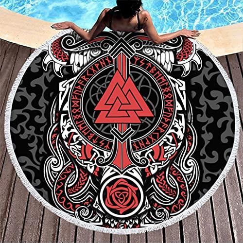 Toalla de playa con runas vikingas, redonda, de microfibra, absorbente, toalla de playa, baño, picnic, playa, esterilla de yoga, para dos personas, color blanco, 150 cm