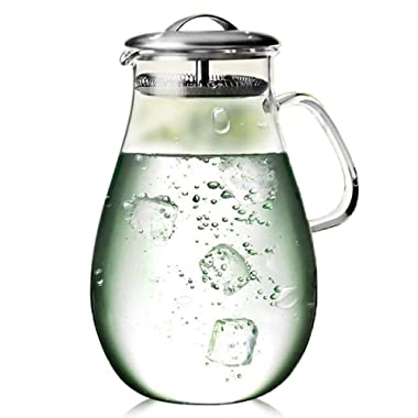 Artcome 65 Oz Large Heat Resistant Water Carafe with Stainless Steel Lid, Borosilicate Glass Beverage Pitcher with Lid