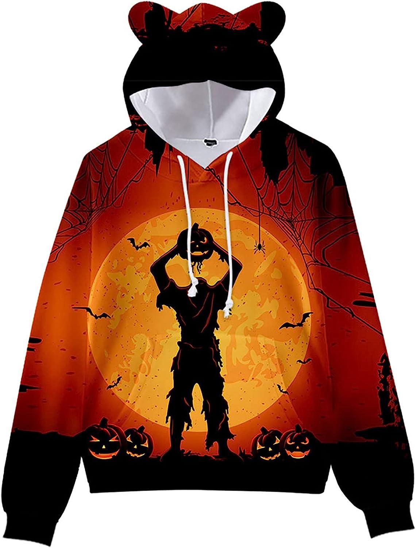 Unisex Hoodies Halloween Cute Printed Sweatshirt Graphics Tops Casual Drawstring Warm Fleece Pullover