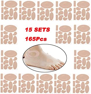 Moleskin Tape Flannel Adhesive Pads Anti-wear Heel Pads Heel Stickers Blister Dressing Prevention Pads for Feet Fabric Padding 165Pieces 11 Shapes 15Sets