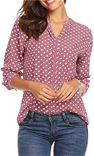 Fankle Women's Henley Shirts Polka Dot Print 3/4 Sleeve V-Neck Tops Blouse Casual Office Tunics