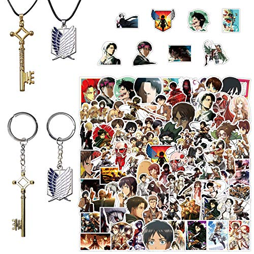 Attack on Titan Gift Set,Eren Jaeger Key Necklace Pendant Stickers 100Pcs,Keychain and Necklace(Silver Blue and Bronze)