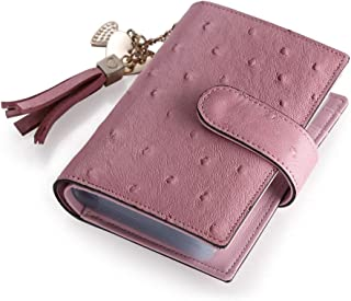 Teemzone RFID Cartera Tarjetero de Piel Billetera Monedero de Snap Cerrado Caso de Tarjeta Rosa de Borlas