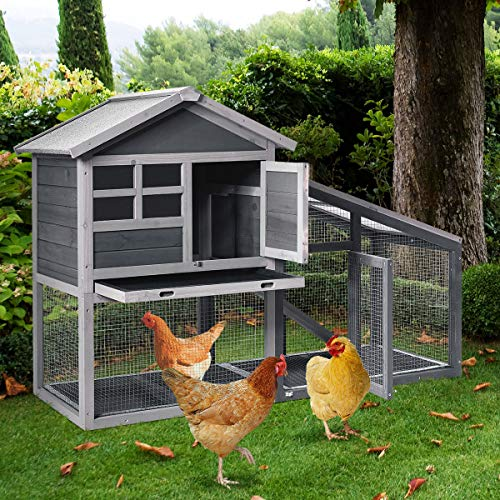 Tangkula Large Chicken Coop with Ventilation Door, Removable Tray, Ramp, Sunlight Panel, Outdoor Indoor Backyard Bunny Rabbit Shelter House, Wooden Bunny Rabbit Hutch (Gray)