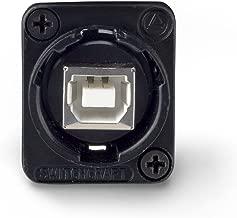 Switchcraft EHUSBBABX USB-B to USB-A Feedthru Panel Mount Jack, Black Finish
