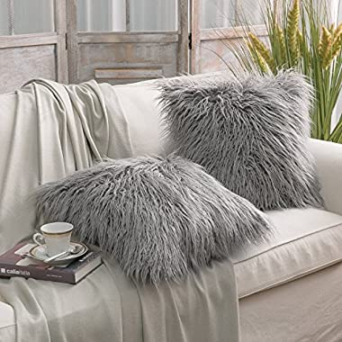 PHANTOSCOPE Decorative Set of 2 New Luxury Series Merino Style Fur Throw Pillow Case Cushion Cover 18  x 18  45cm x 45cm Fur Grey