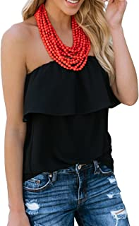 Sumtory Women Ruffle Strapless Solid Tube Top