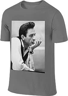 Mens Personalized Humor Tees Johnny Cash Smoking Tshirts