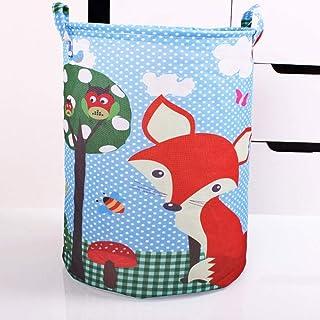 MJY Panier à linge en toile, Panier de rangement imperméable Fox de dessin animé pour sac à linge sale Panier Boîte de ran...