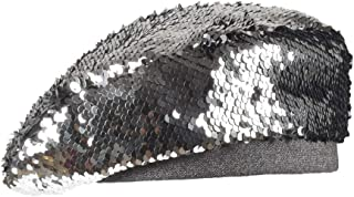 Hats Women's Autumn and Winter Beret Adjustable Color Painter Cap Turned Sequins Fashion (Color : Silver)