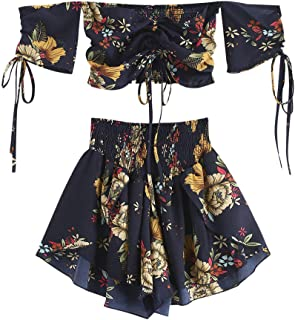 Women's Floral Off Shoulder Smocked Cropped Set Two Piece Flower Cinched Top Shorts Suit