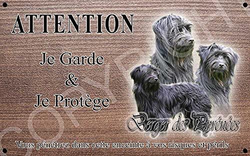 Pets-Easy.com Panneau Attention au Chien personnalisée Berger des pyrénées Noir - pré percée et vis données. De 30 cm à 15 cm…