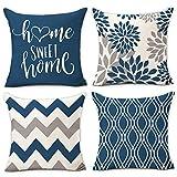 Hexagram Light Blue Geometric Pillow Covers 18x18 Set of 4,Decorative Couch Pillow Cover for Sofa,Cotton Linen Cushion Case Outdoor Home Decoration(Light Blue)