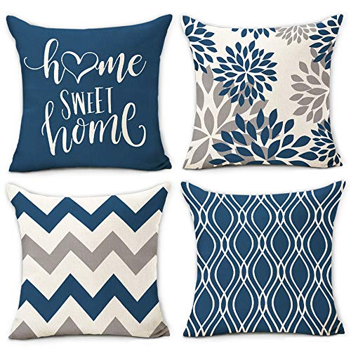Hexagram Light Blue Geometric Pillow Covers 18x18 Set of 4,Decorative Couch Pillow Cover for Sofa,Linen Cushion Case Outdoor Home Decoration(Light Blue)